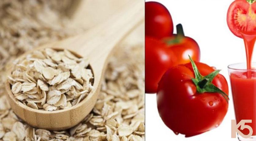 Cà chua và bột yến mạch giúp làm mờ thâm nám