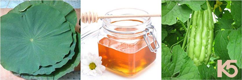 Mướp đắng, lá sen và mật ong