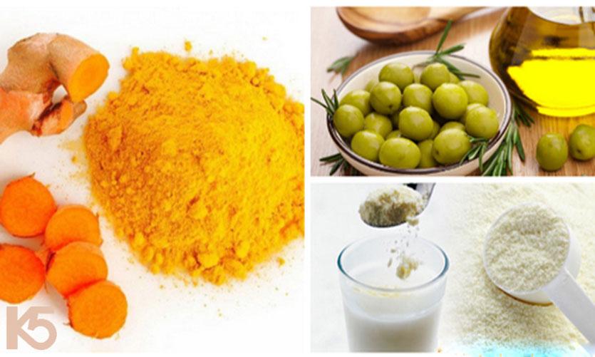 Tinh bột nghệ dầu oliu và sữa bột