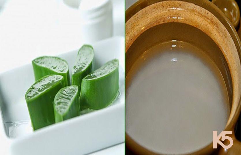 Chữa nám da mặt bằng cây lô hội với nước vo gạo