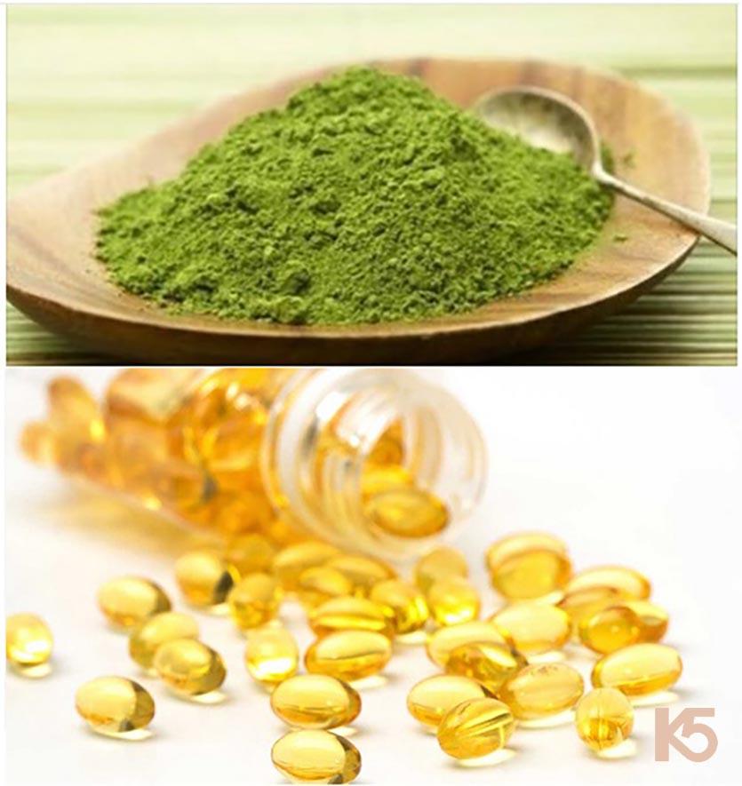 Bột trà xanh, mật ong và vitamin e