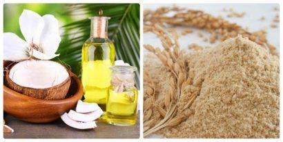 Cám gạo và dầu dừa