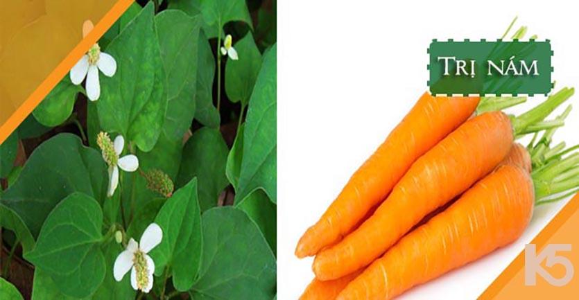 Rau diếp cá và cà rốt