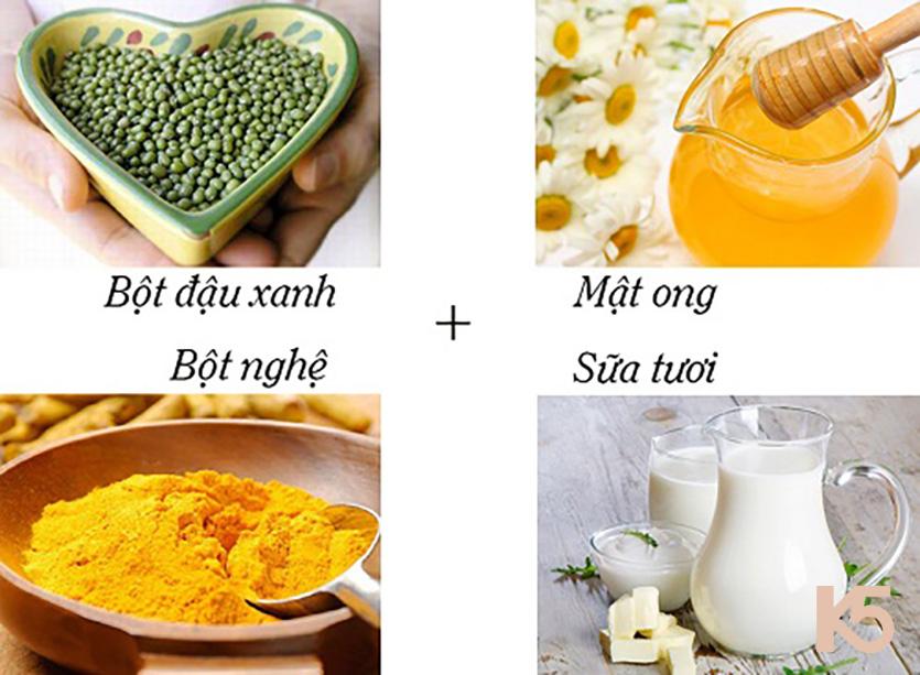 Mặt nạ đậu xanh, bột nghệ, mật ong và sữa tươi