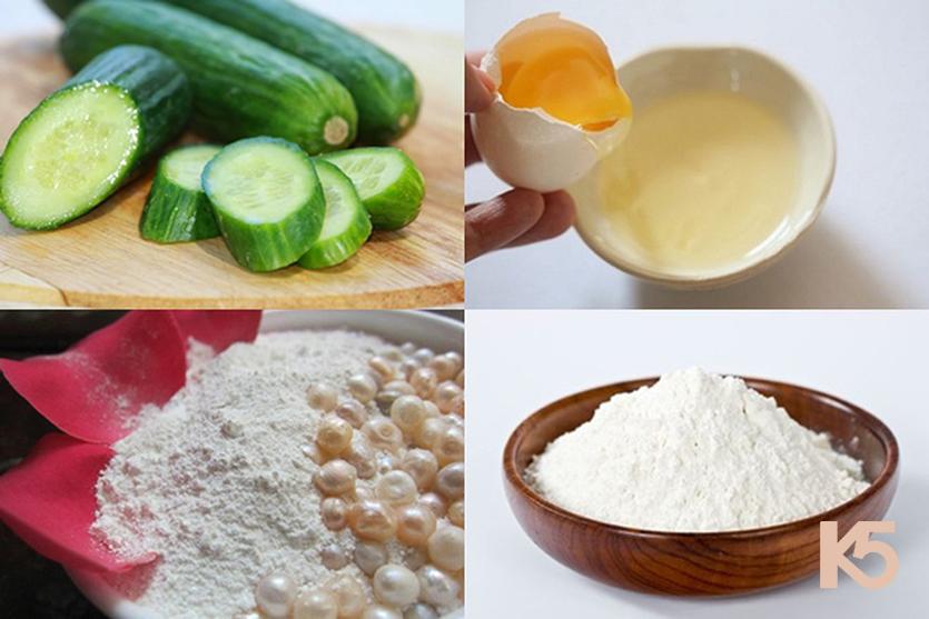 Dưa leo, trứng gà, bột mì và ngọc trai