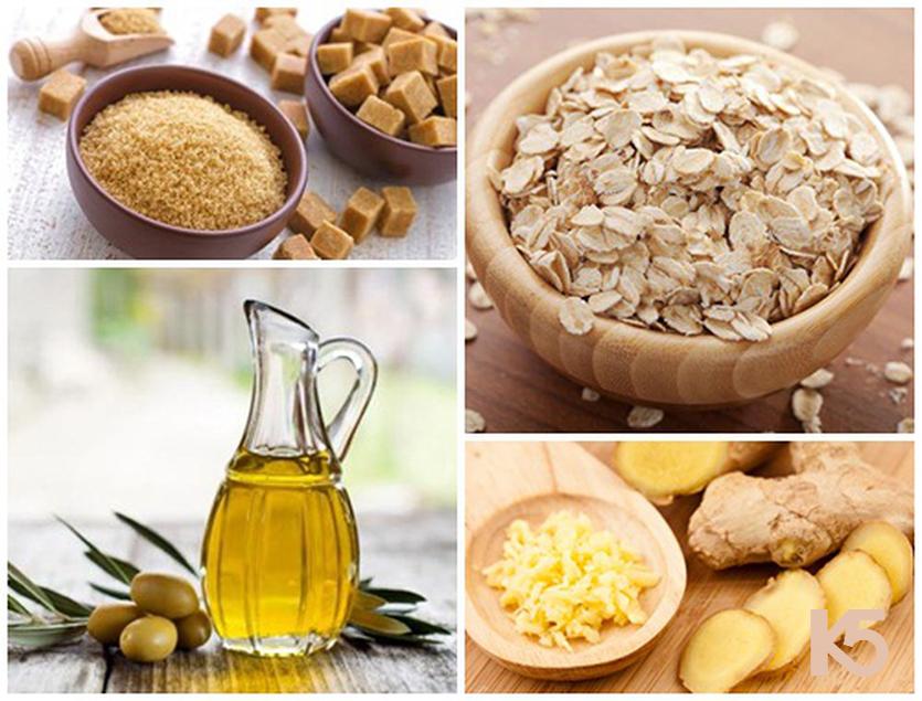 Gừng tươi, đường nâu, dầu oliu và bột yến mạch